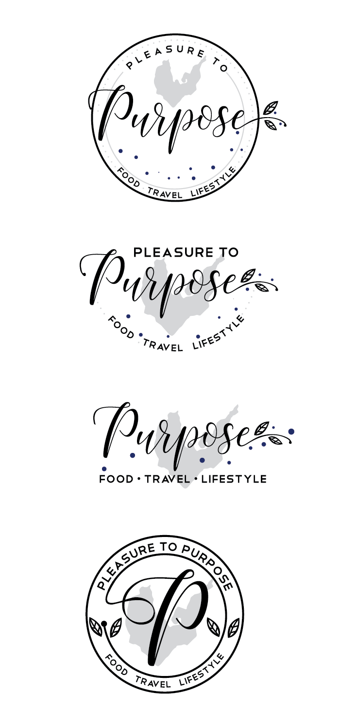"A logo for a lifestyle blog!! ""Pleasure to Purpose"" FOOD