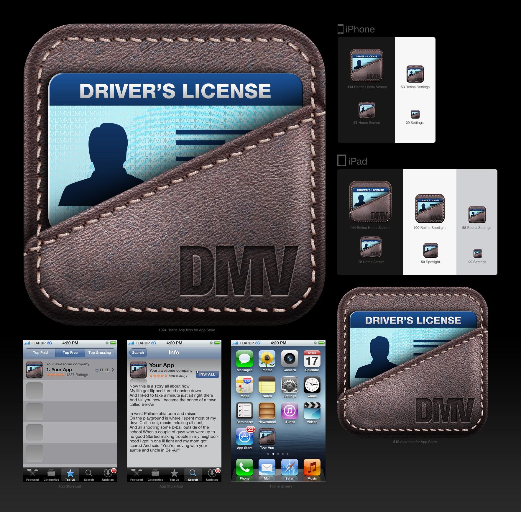 Create the next iOS app icon design for DMV Prep