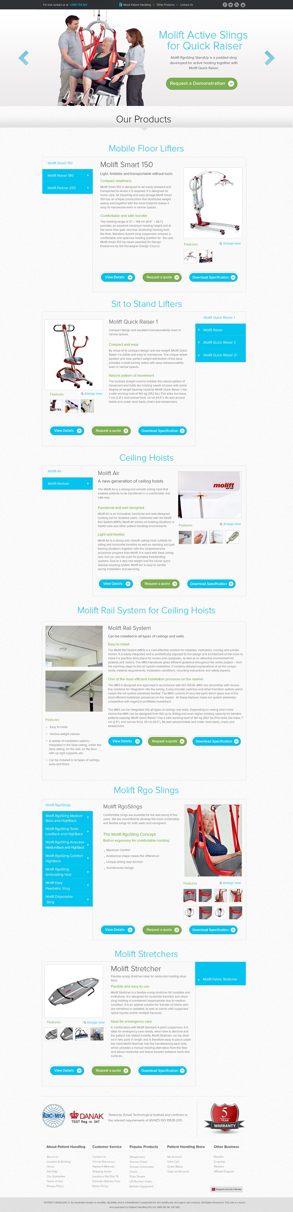 Landing page for Hospital Patient lifting equipment