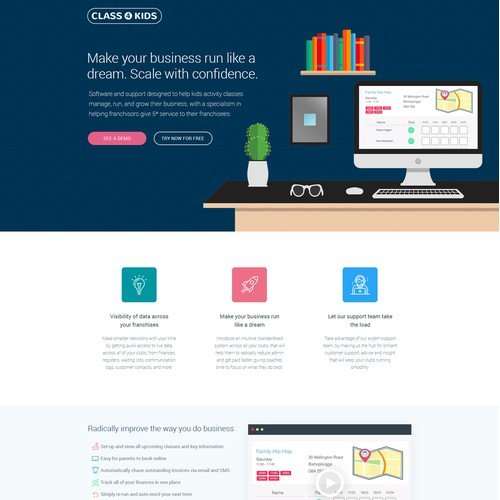 Landing page for kid classes software