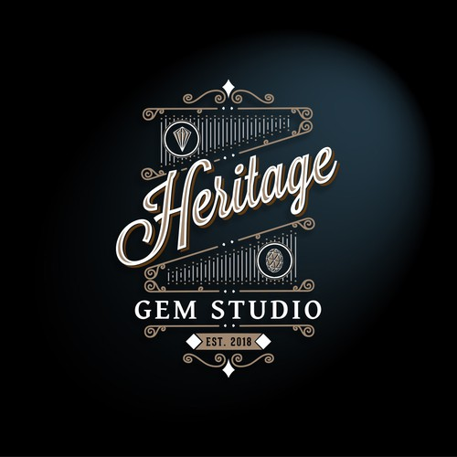 Vintage logo for a precious gem's sales studio.