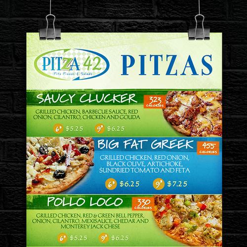 Pitza42 Pitzas Menu Design
