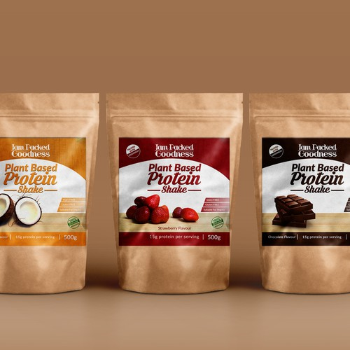 Jam Packed Goodness requires a EYE CATCHING label for Vegan plant based protein