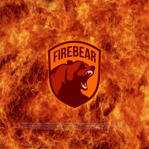 A bear on fire! my proposed theme for a security company.
