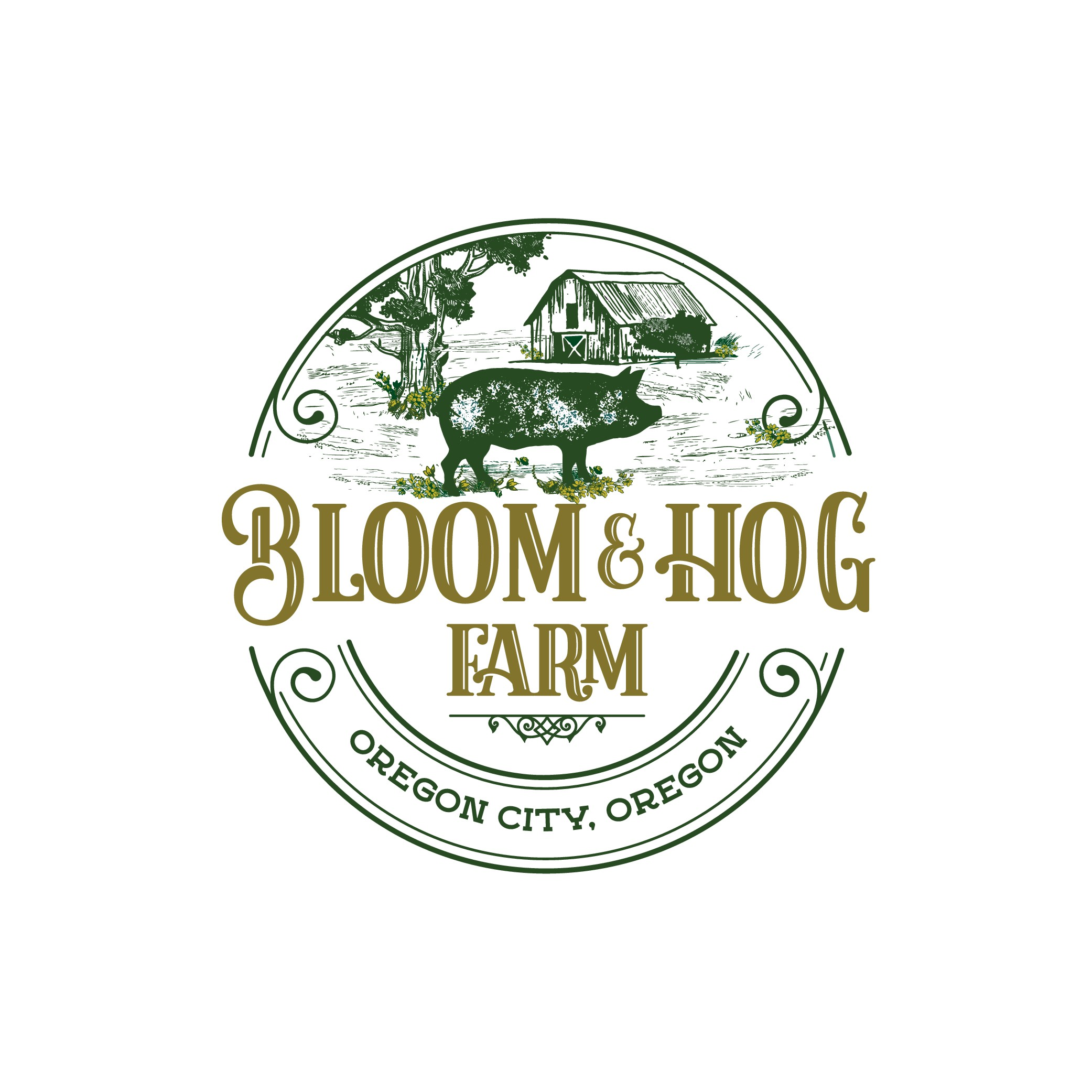 Vintage farm logo for farm growing only flowers and hogs