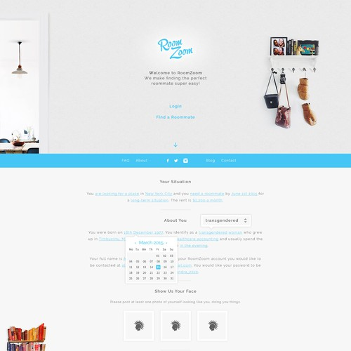 Room Zoom Landing page design