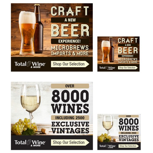 Advertising Banners for National Wine/Alcohol Retailer's Retargeting Campaigns