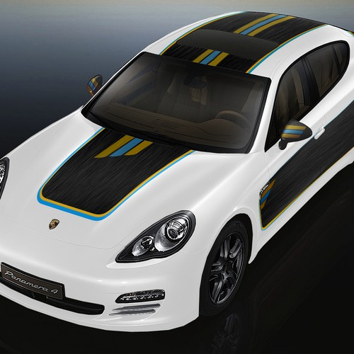Porsche Hybrid car - funky wrap design