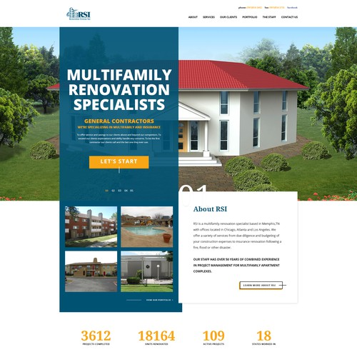 Homepage Design Concept for Restoration Systems Inc