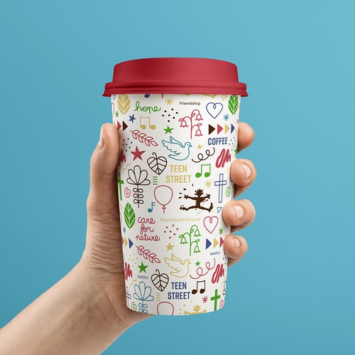 Reusable coffee cup for teen event