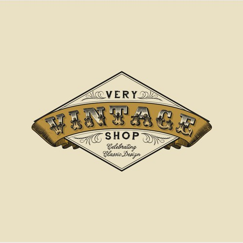 Create the next logo and business card for Very Vintage Shop