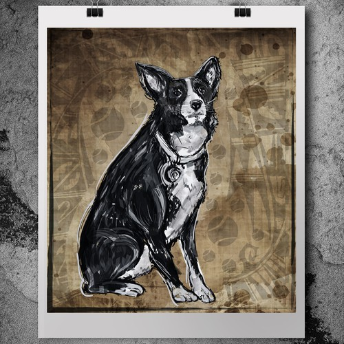 Stylized illustration of a border collie dog (for framing).