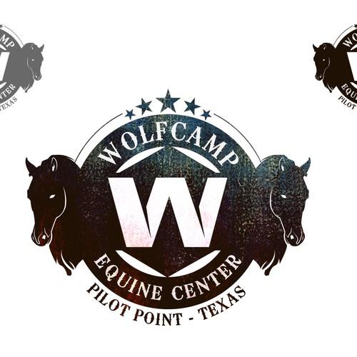 Create a capturing rustic logo design for Wolfcamp Equine Center