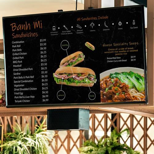 simple, easy to read menu