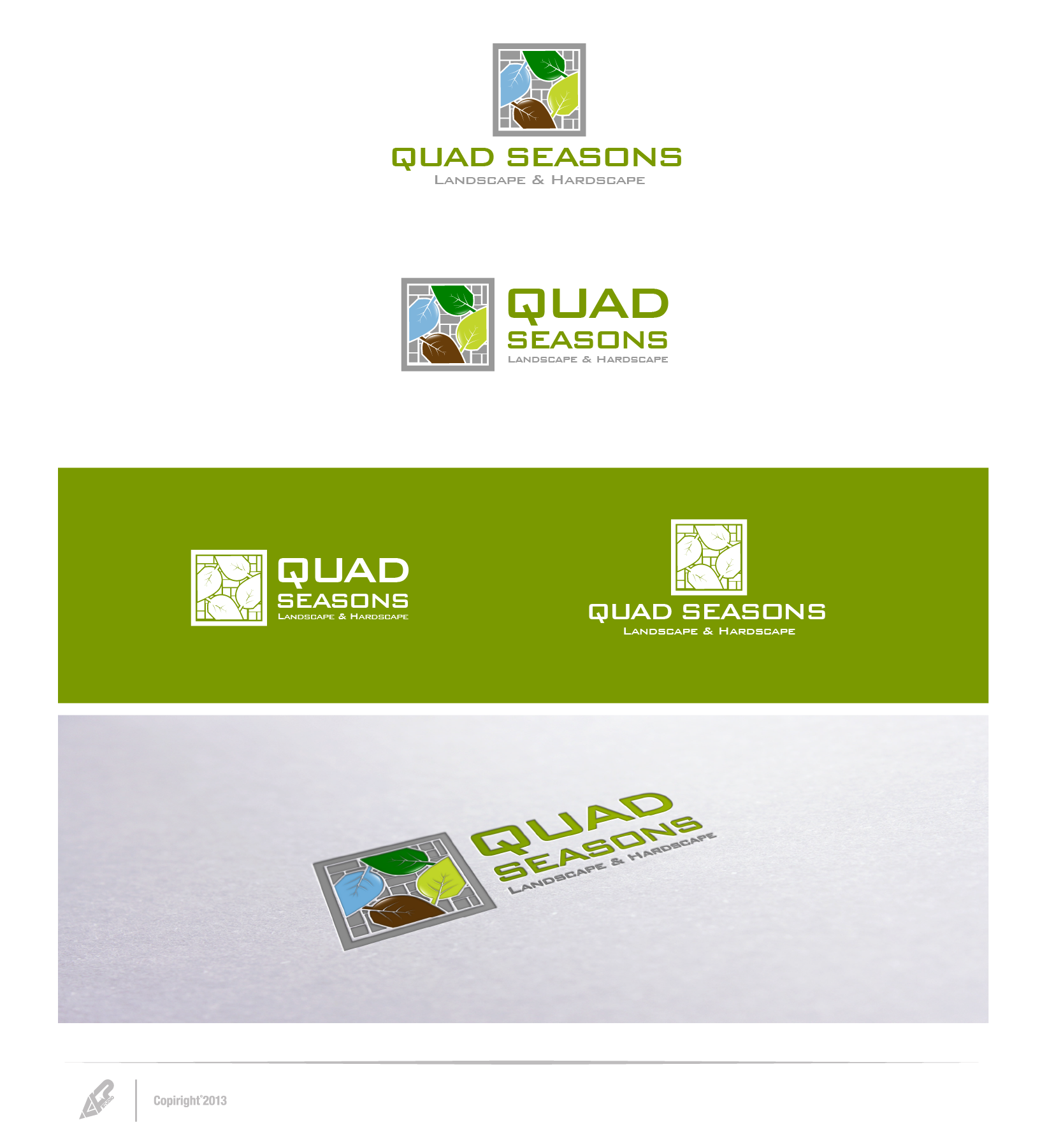 Create the next logo for Quad Seasons Landscape & Hardscape