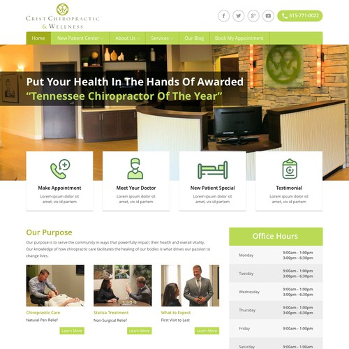Web Page Concept for Award Winning Chiropractor