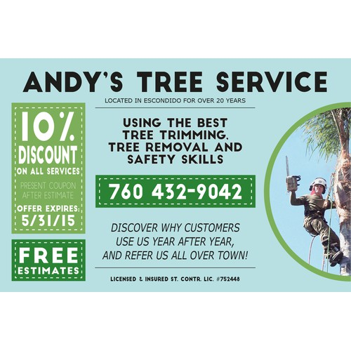 Redesign postcard for tree company