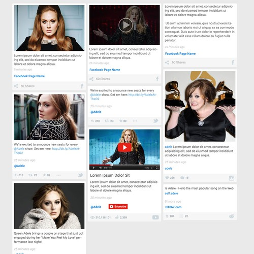 WeLoveAdele social feed design