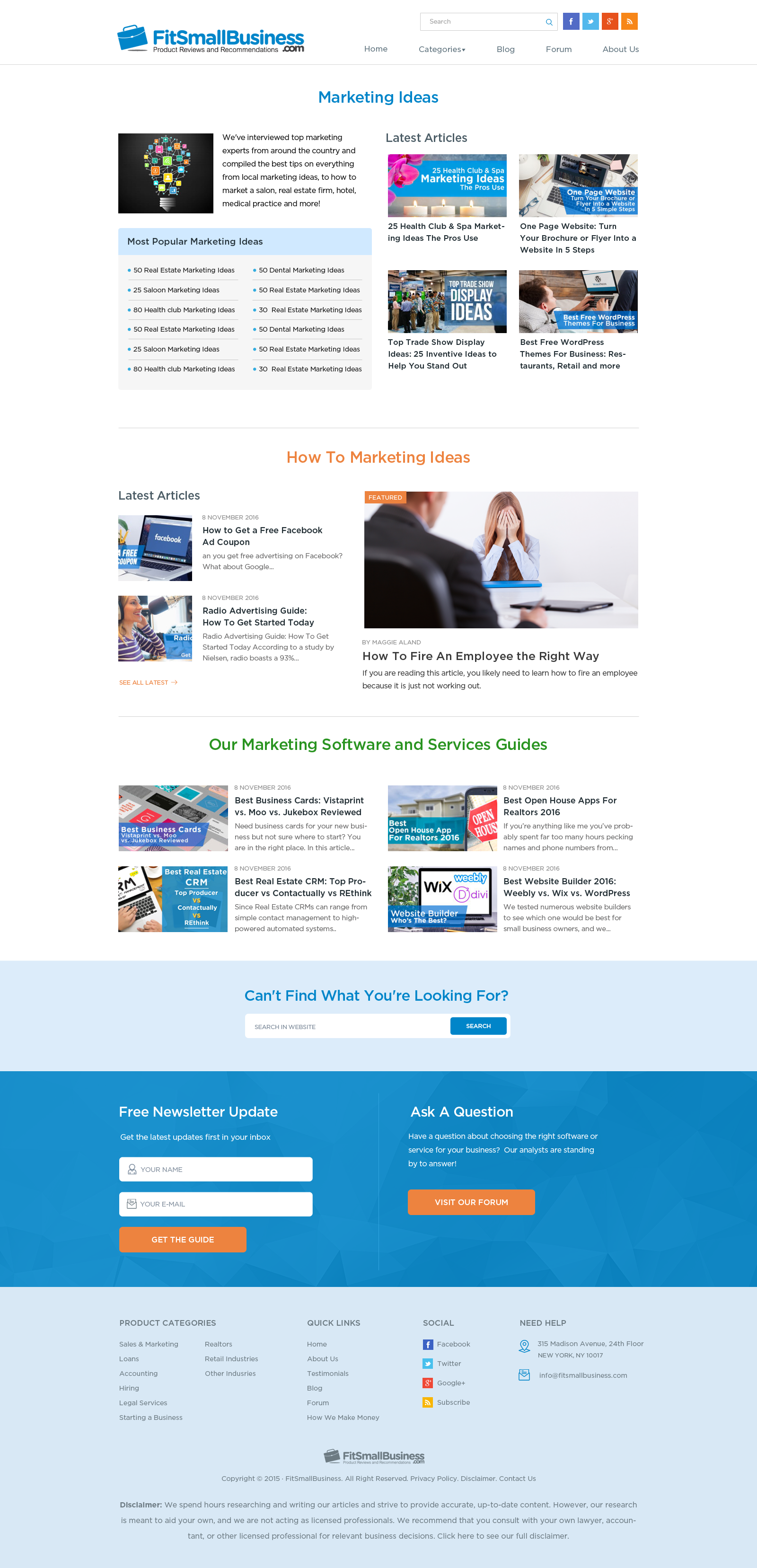 Content Showcase Landing Page for Leading Small Business Website