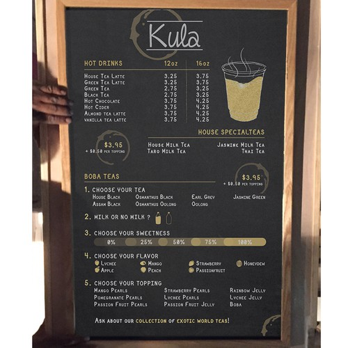 Concept menu for a tea shop