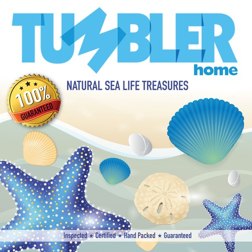 Design a clean crisp label for sand dollars, starfish and sea shells packaging for Tumbler Home