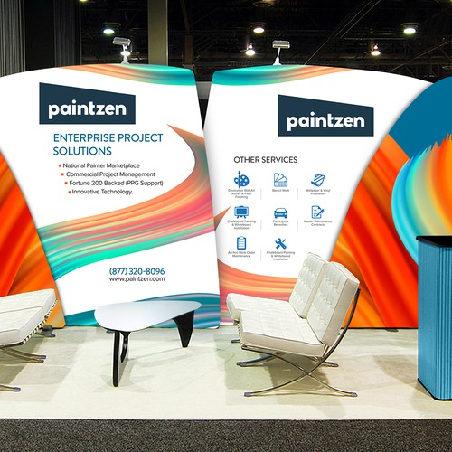 Help us create a trade show booth design concept for a fun and innovative new painting company!