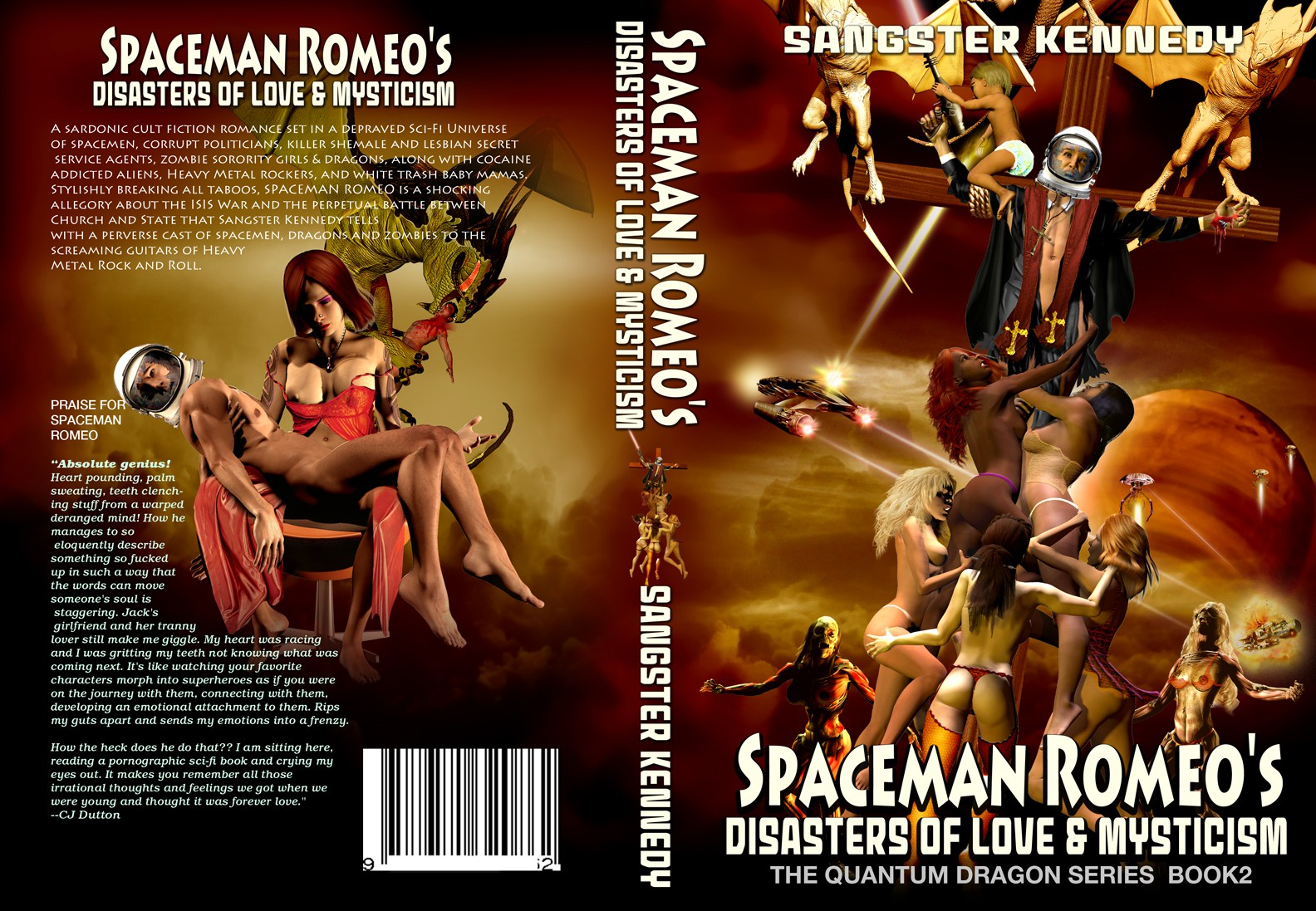 Sci Fi Illustration Featuring Spaceman with Cracked Helmet, Suspended On Cross Flying on Dragons Sexy Woman On Top of Sp
