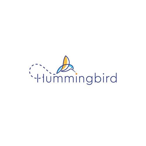 Minimal humming bird logo.