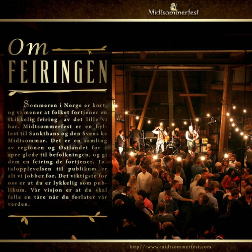 Create a beautiful and temting presentation of our Norwegian festival! We are looking for sponsors.
