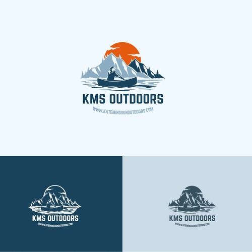 Create an outdoor adventure logo for KMS Outdoors