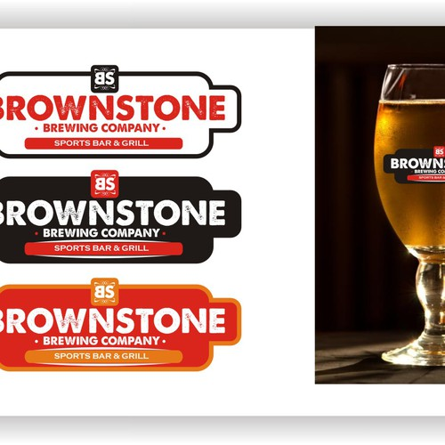 Create the next logo for Brownstone Brewing Company Sports Bar & Grill