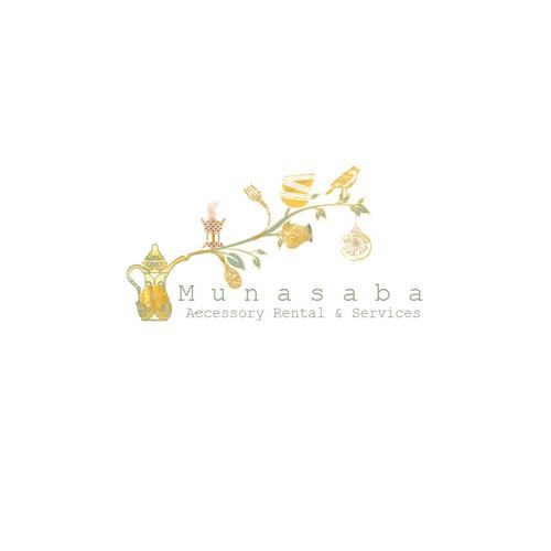 Catchy logo for wedding accessory rentals