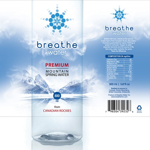 Label design for private orders Breathe Water