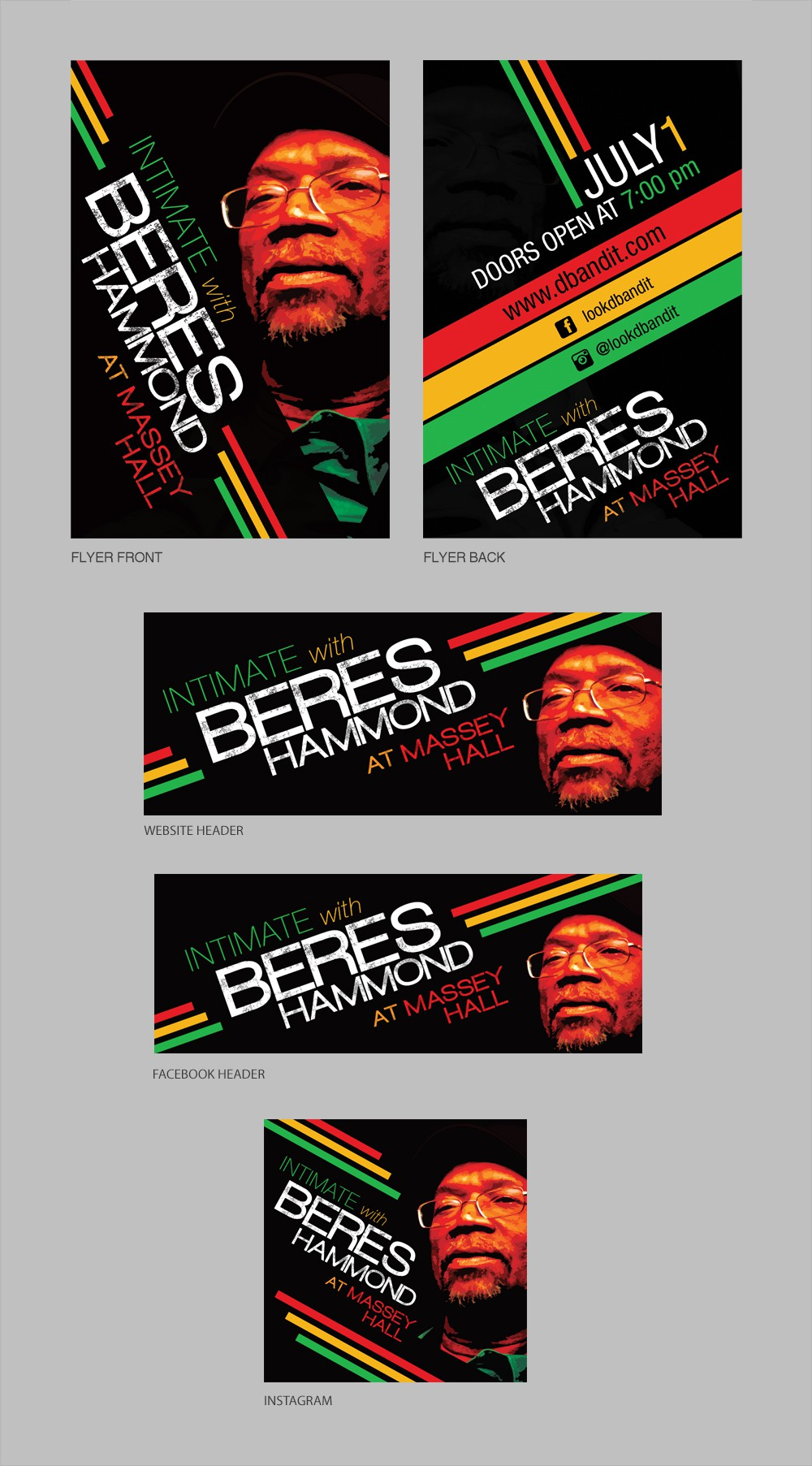 Design a contemporary reggae concert campaign for Beres Hammond