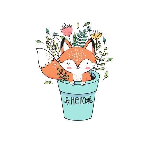 Cute fox illustration 🦊