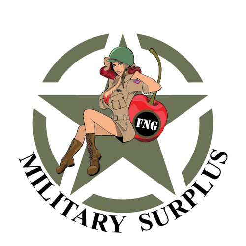 Vintage Logo for Military Surplus store with hot 40's pin up caricature