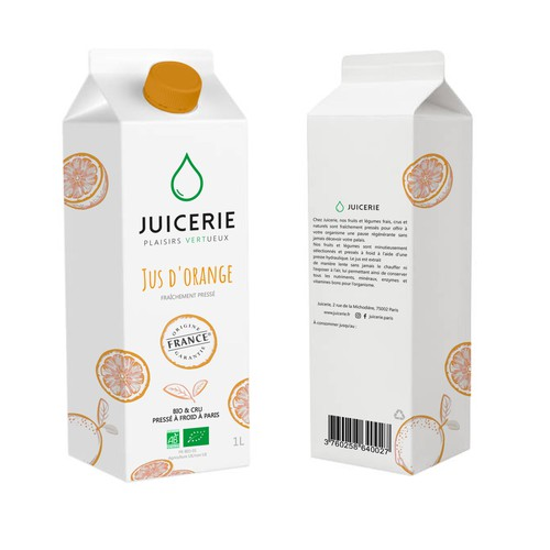 Brique pour un jus d'orange de la Juicerie