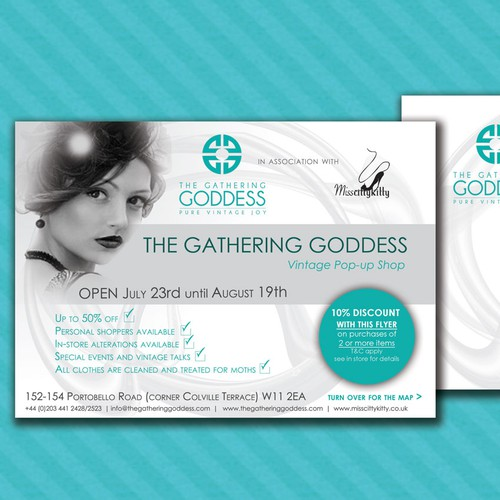 New postcard or flyer wanted for The Gathering Goddess Vintage BOUTIQUE