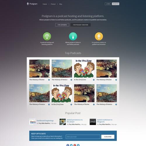 Landing Page Design For Podgram Website