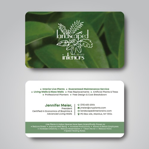 Business Card Design for Landscaped Interiors