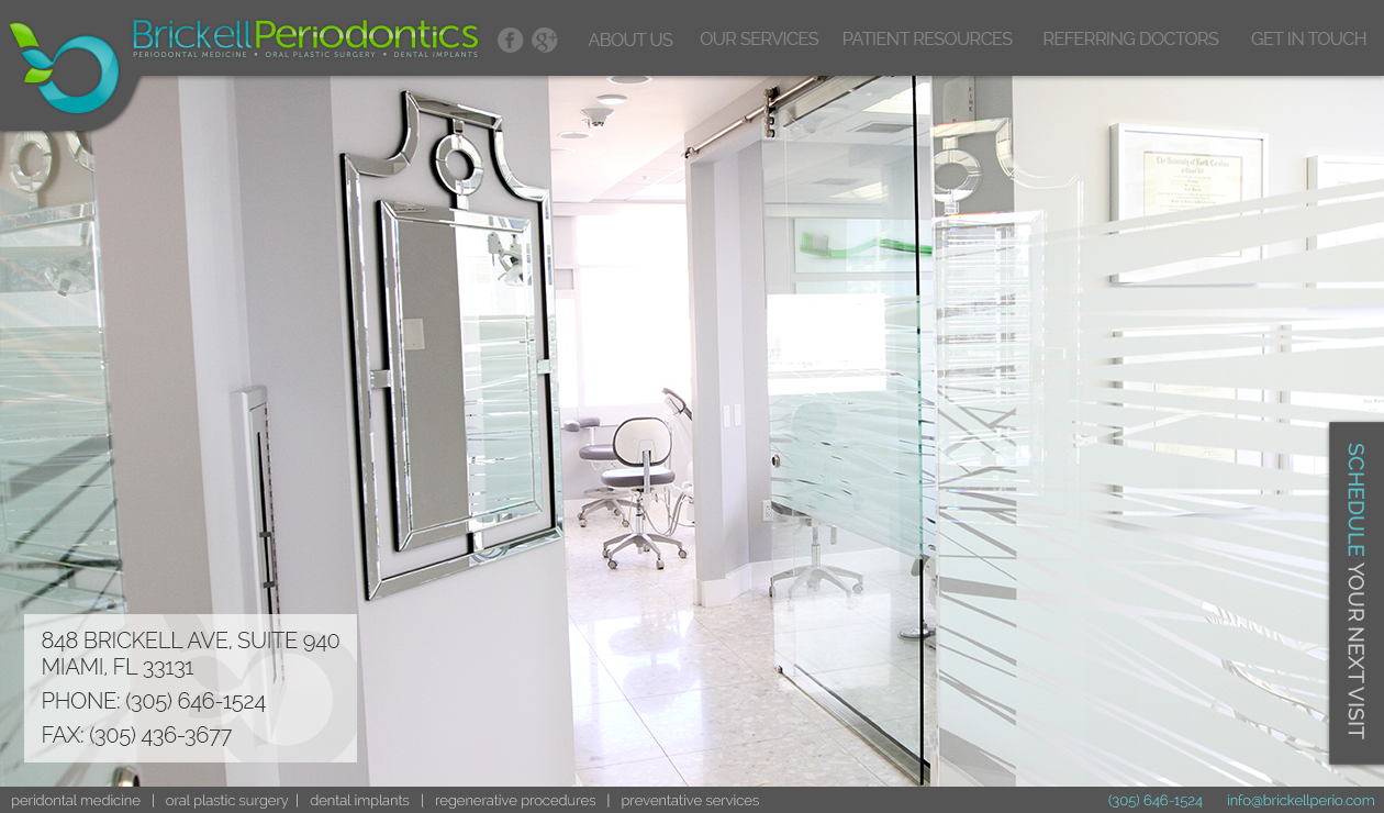 website design for Hip and modern website for Brickell Periodontics in Miami, Florida