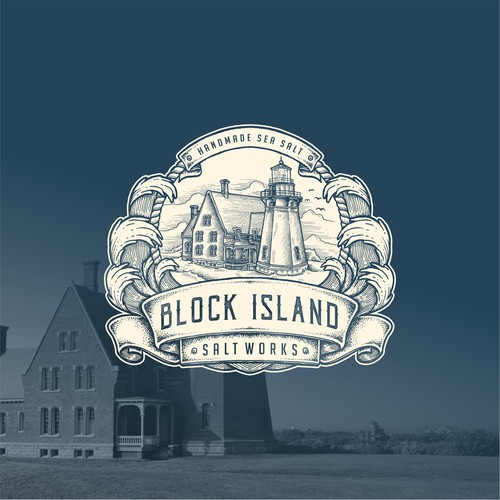 Engraved drawing badge for Block Island