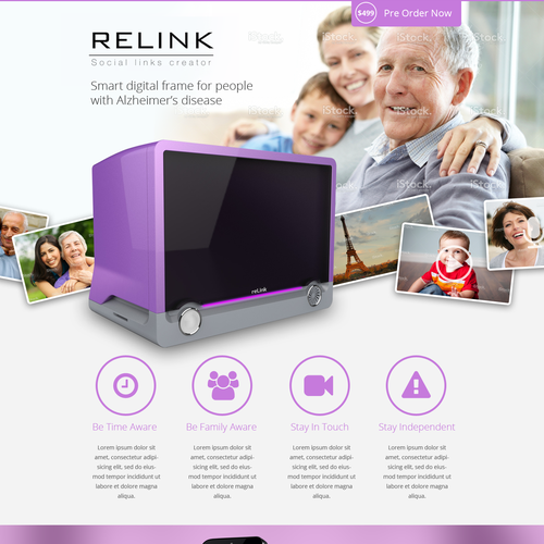 Relink landing page - smart digital frame for Alzheimer