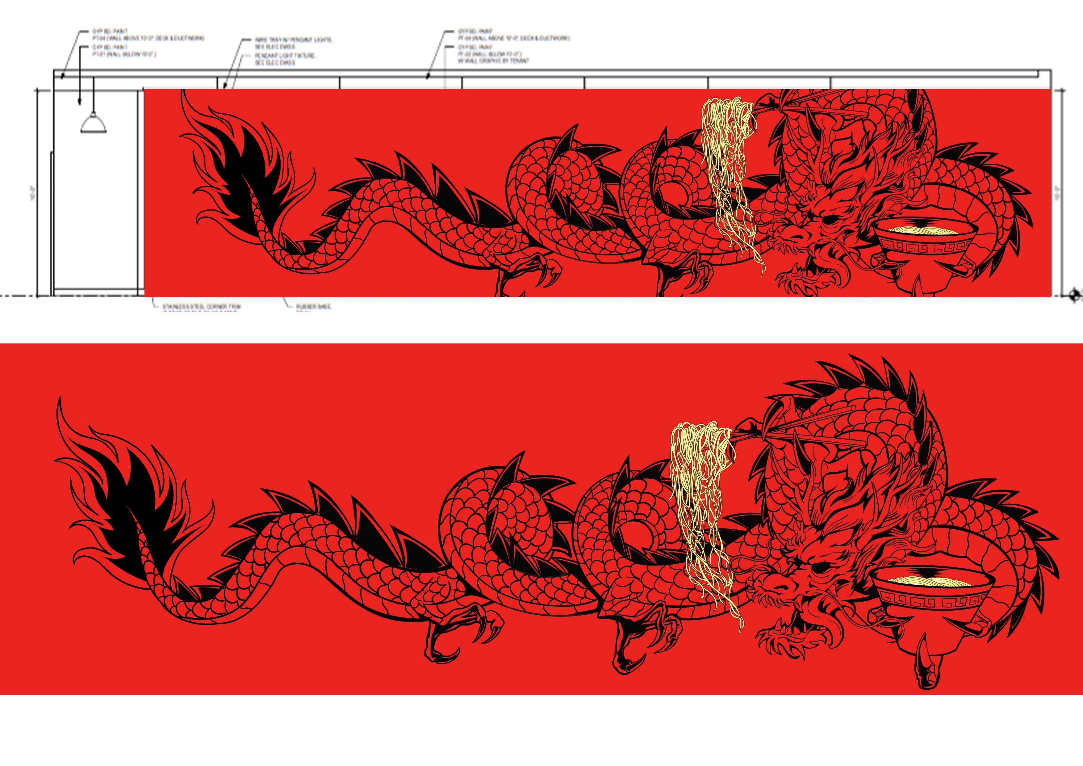 Create a BIG new dragon artwork (traditional tattoo style) for Fukuryu Ramen!