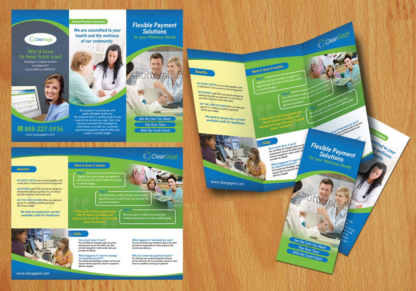 Create the next brochure design for ClearGage, Inc