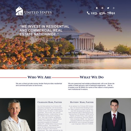Create a one page website design for real estate finance/investment company.