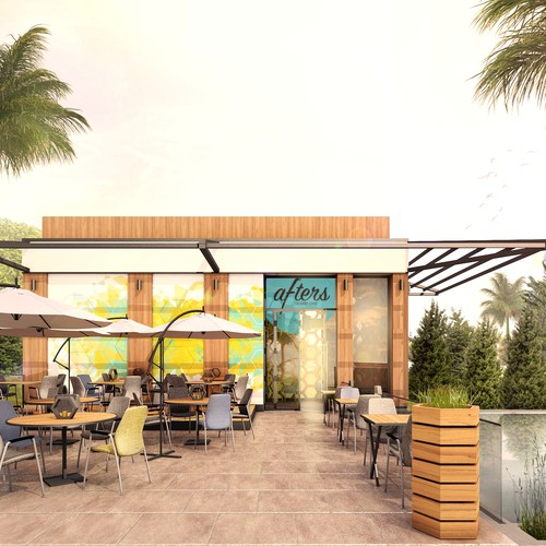 Exterior design of cafe building and patio.
