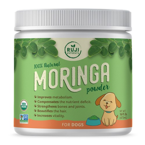 Fun Label Design for Moringa Based Pet Supplement