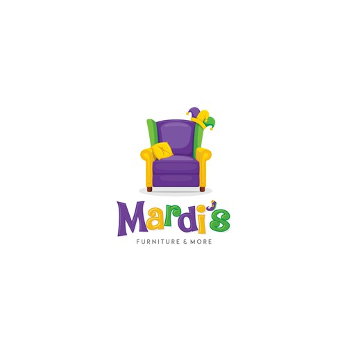 Furniture & Home Store -mardi gras with jester on a couch theme