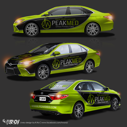 NASCAR inspired Toyota Camry car wrap design for company advertising